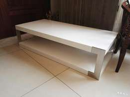 A stunning white coffee table