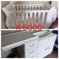 URGENT SALE - White Sleigh Cot and Compactum in good condition.