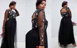 267a7a526f Sukienka czarna długa luksus zdobiona 44 46 wesele ślub impreza