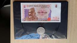 Zimbabwe: 5 Dollar note and 1 Dollar coin - 1997 and 1980