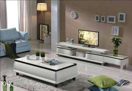 White and black design tv stand and center table