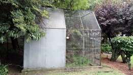 Large aviary makes up to 3.6M square with peaked 3M high roof.