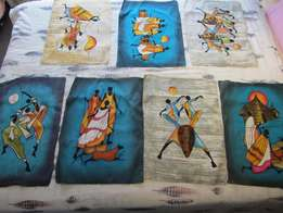 Beautiful Hand Made & Painted African Material Drawings