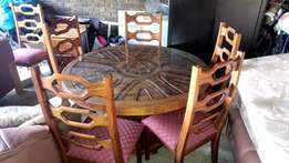 Solid wood, carved dining table and server