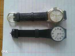 1.Stainless steel original watch with leather strap 2. Plastic watch