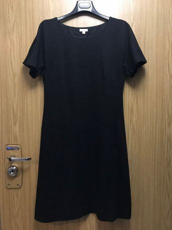c2bbf88a8d SOLAR - czarna pudełkowa sukienka linia A z krótkim rękawem – roz. 38  Kraków -