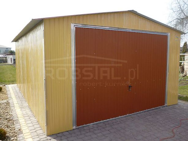 Garaż Blaszany 4x6 Blaszak Akryl Dach Dwuspadowy Dodatkowe Drzwi