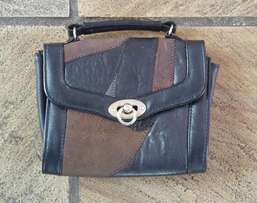 Handbag - vintage patch leather navy and brown