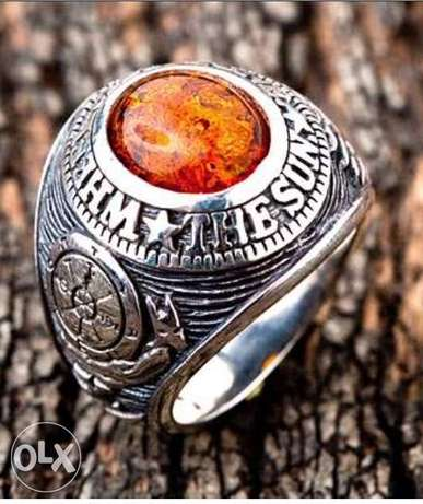 Amber Lucky Amult Stone 925 STERLING SILVER MENS RING ~NEW