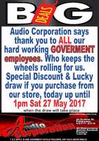 Audio Corp: Special Discount for Goverment Employees