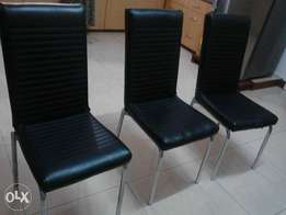 6 black leather used office chairs