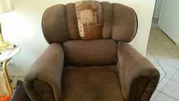 3 piece lounge suite. (Brown fabric)3 months old