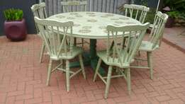 Table and 6 chairs redone in the new french look