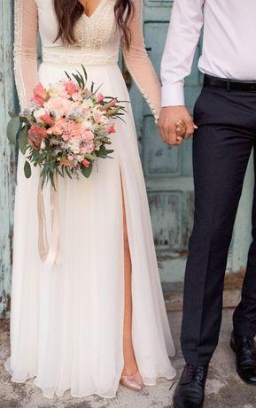 7bce526e Suknia ślubna DIANA model GAJA (rozcięcie na nodze) Mielec • OLX.pl