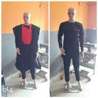 Black & red design 2 in 1 Agbada