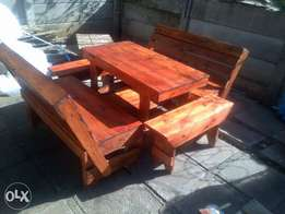 5 piece outdoor table n benches