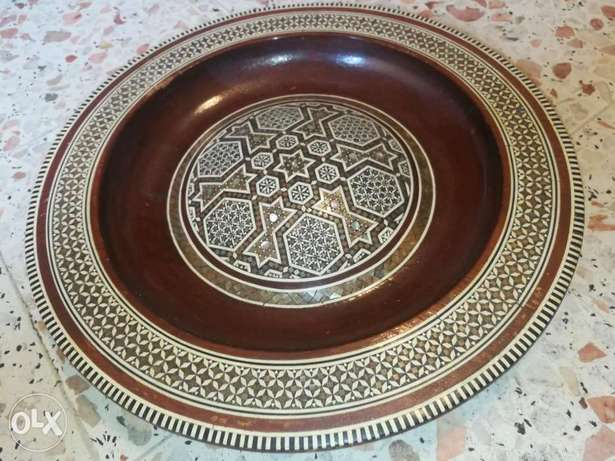 Vintage Egyptian Wooden Plate Marquetry With Inlaid Mother Of Pearl