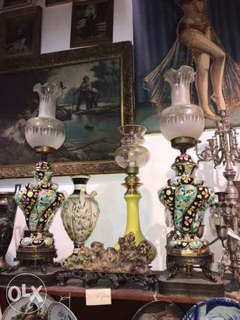 antique capodimonte signed lamps pair