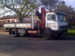 8 Ton truck for hire with drop sides & Crane