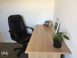 Desk & Leather Chair For Sale