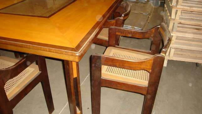 Stinkwood and Beachwood Dinning Room Table & Chairs + matching mirror Edenvale - image 2