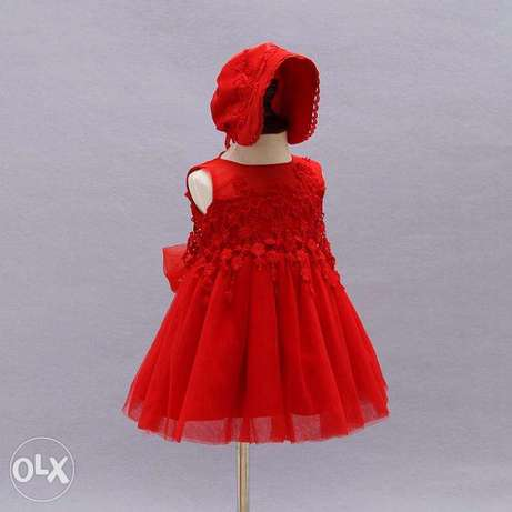 Quality Baby girls clothes plain red color gowns Idimu - image 3