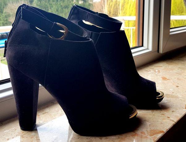 707d3c2f9e834 H&M buty szpilki 40 odkryty palec, czarne złote nowe Warszawa - image 1