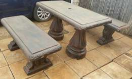 URGENT SALE!!! REDUCED!!! 1 concrete table and 2 concrete seats for sa