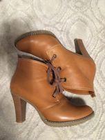 Brazowe kremowe musztardowe botki buty jesienne zimowe 40