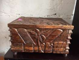 Hand carved wooden jewelry box for sale