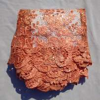 Peach Colour Sequined and Embroidered Sample Lace - 4 Yards