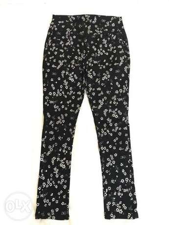 Black floral embroidered jeans / pant