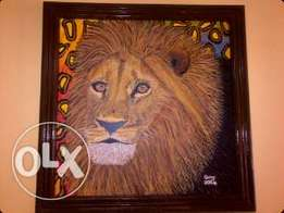 Original framed Lion painting