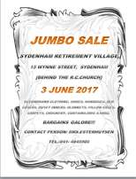 Jumbo Sale 3 June 2017 Sydenham Retirement Village