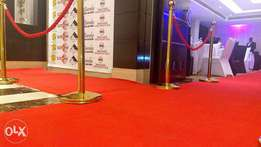 Carpets and stanchions for hire.