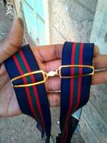 Tricolor Navy blue Red Stripped Suspender