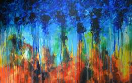 Blue Abstract oil painting - Bousie