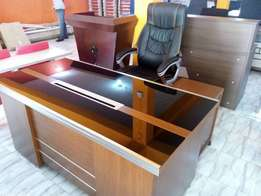 Glass top office desk 1.6meter with extension mobile drawer
