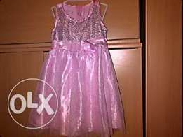 Pink and silver sequined special occasion dress