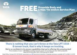 TATA LPT 1518 with FREE Drop side Body + 1 year/60,000 Km FREE service