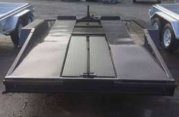 14ft x 6ft Commercial Tandem Car Trailer with a Flat Deck Beaver Tail