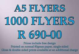 1000 A5 flyers - full colour, free design