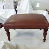 Beautiful antique-style leather clad foot stool, wooden frame & legs