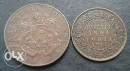 1834 and 1917 India coin set