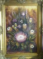 Protea Painting by Johnny Boerstoel