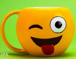 Emoji Tongue out Cup - Yellow