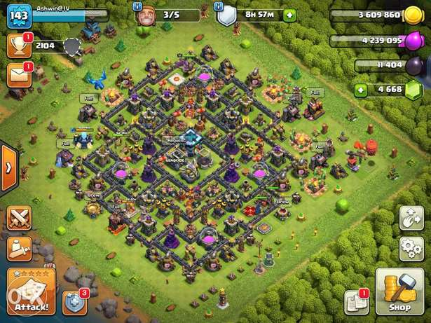 Clash Of Clans TH13 Base with 4400+ gems and 6 builders