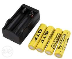4 Pcs 18650 Battery 9800mAh Rechargeable Li-ion Battery With Charger