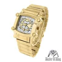 Men's screw style watch 14k yellow gold toned