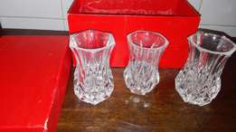 Collectable Crystal vases set of 3 in presentation box